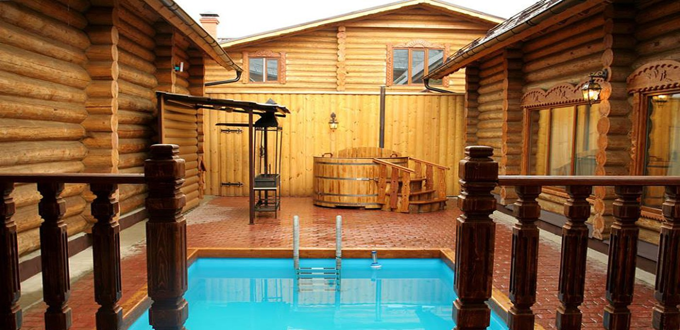 swimming pool in the wooden house