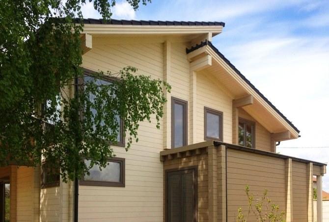 Modern hi-tech style wooden house design \