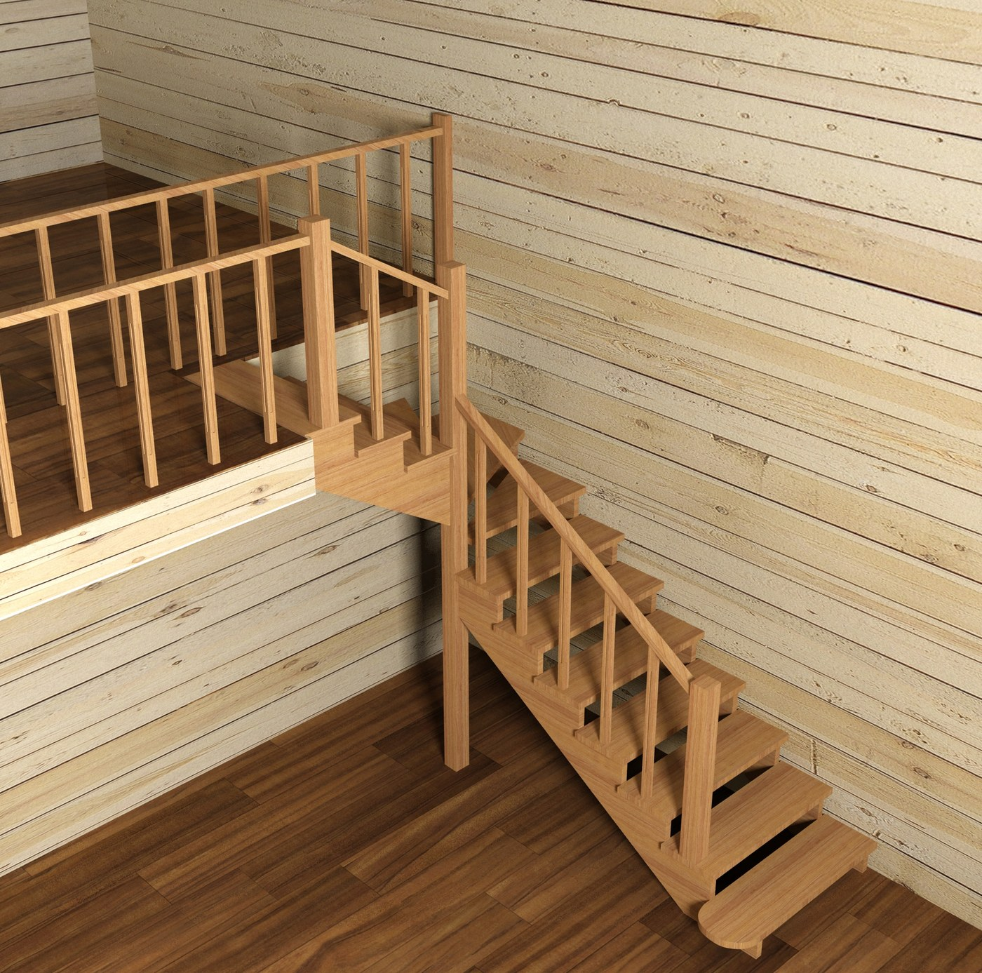 Stairs in glulam house