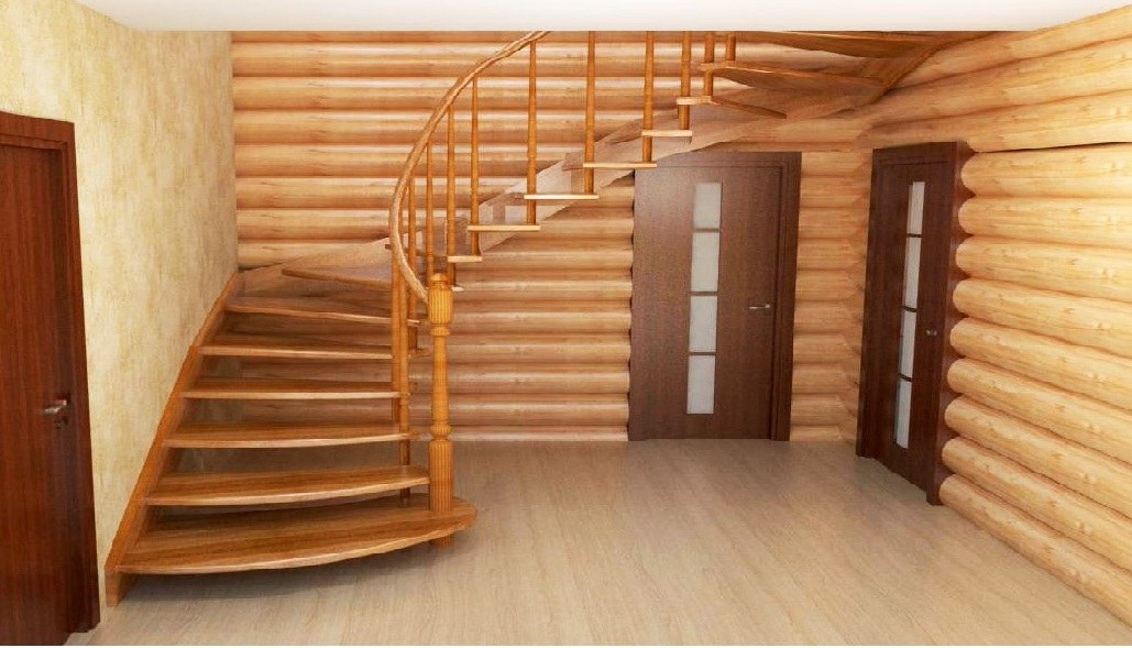 Stairs in wooden house
