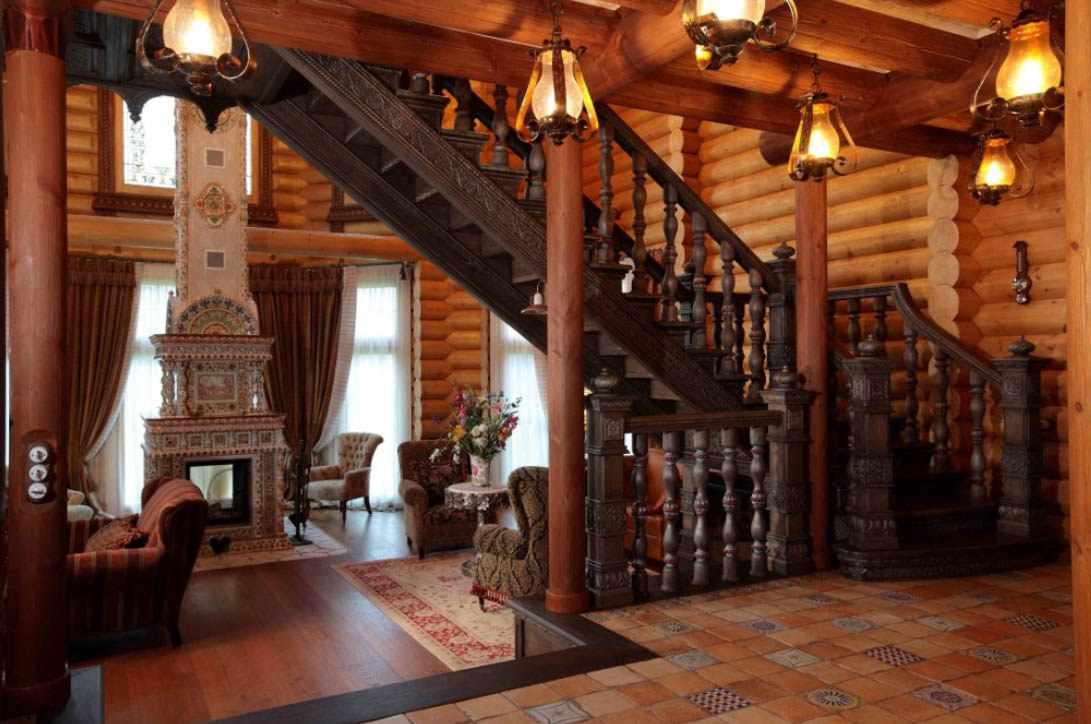 Wonderful stairs in wooden house
