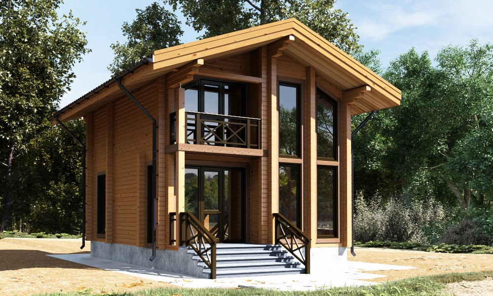 Wooden house «Till» from glued laminated timber, ready for assembling — 37.600 EURO