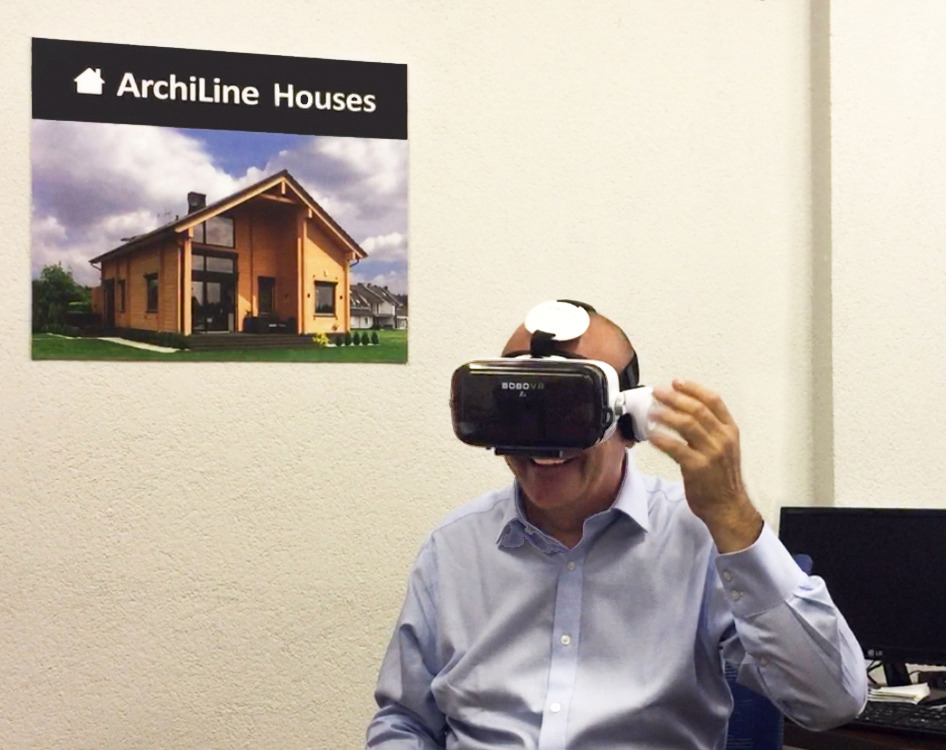 "You can view a 3D-tour of a wooden house ""Mirage"" and  White House  with augmented reality glasses in the office Archiline Houses. Click here!"