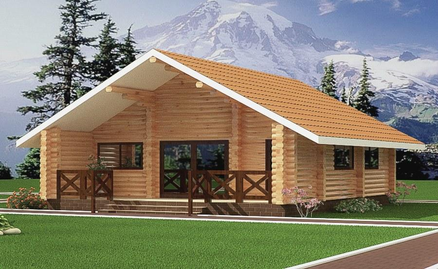 Log Cabin Design From Round Logs In A Country Style House