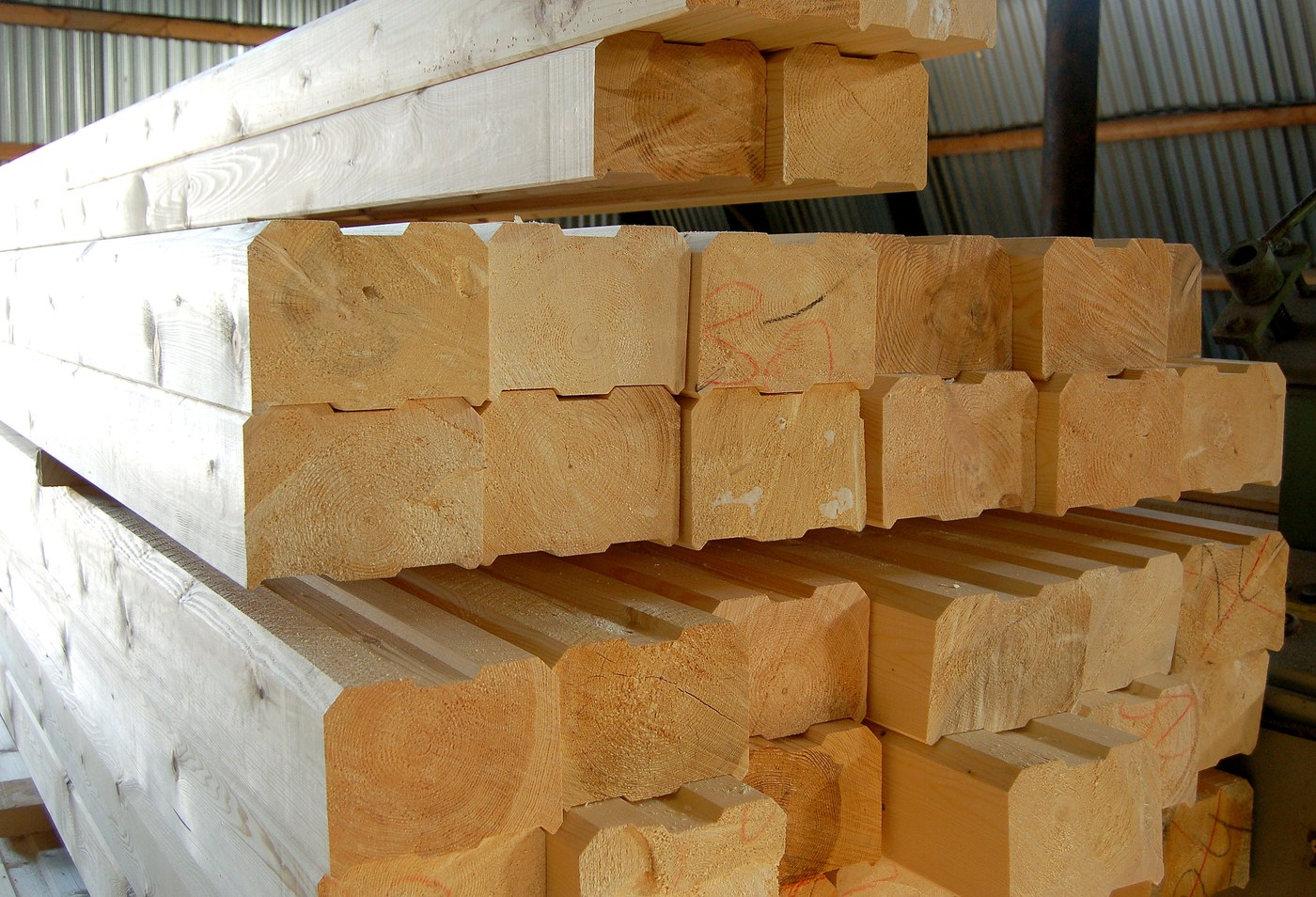 Profiled timber as a building material