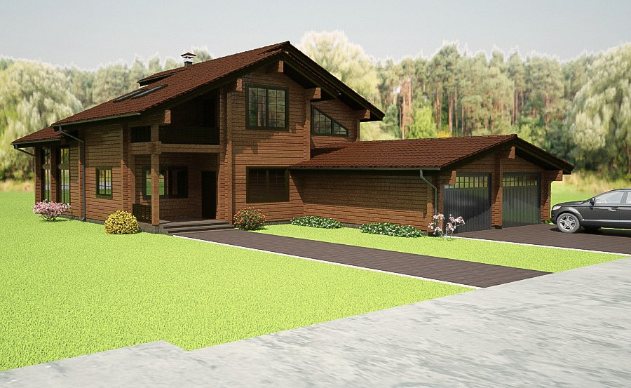 Wooden house plans: Wooden home with music studio 364 m²