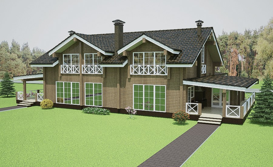 Wooden house plans: Nordic log home  Annika  345 m²