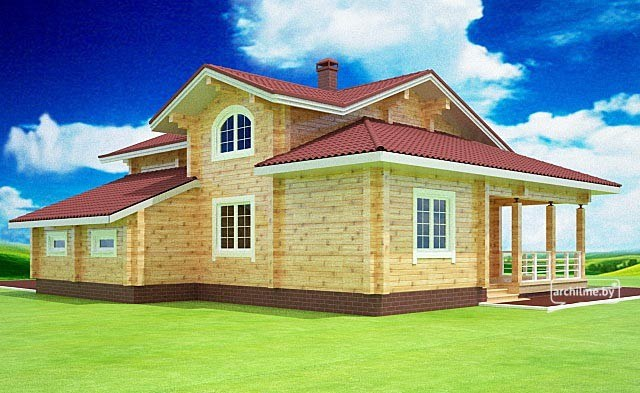 Wooden house plans: Timber wooden home design 148 m²