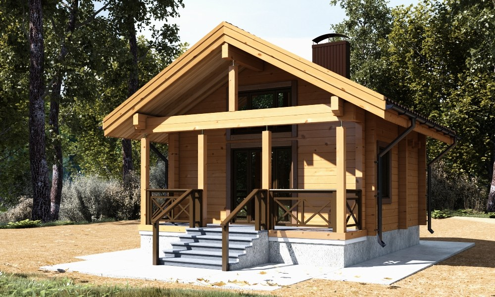 Modular home: project of a tiny wooden home from glulam  Eulenspiegel  ( fast assembling, buy at flexible price)