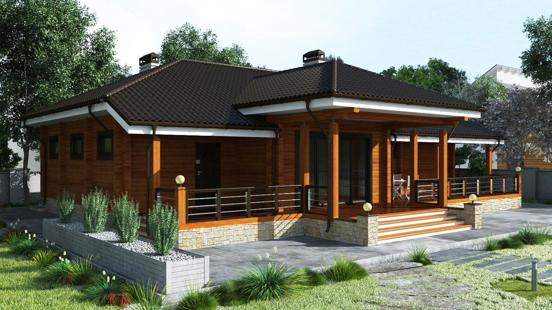 Design of wooden eco home made of glulam - adorable timber ranch  Dolena