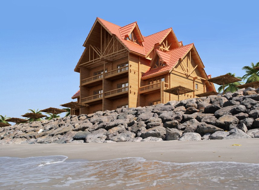 Adorable design of a wooden hotel by the sea from round logs (technical drying)