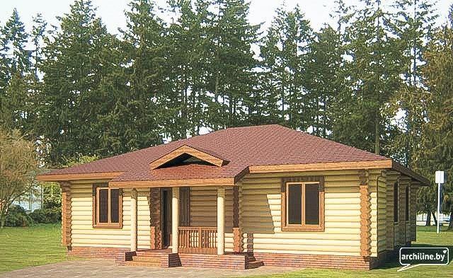 Log cabin  Kaane  - country house from dried round logs